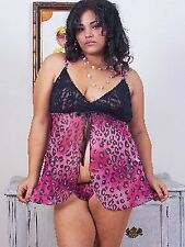 Plus Lingerie-Sexy Open Front Semi Sheer Baby Doll Set-Fuchsia(1X)