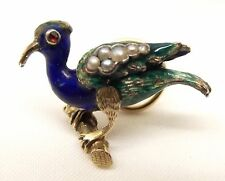 Vtg 14K Gold Enamel Peacock Bird Brooch Pin Seed Pearl Spiral Back Estate