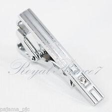 Silver Crystal Gentleman Metal 1.5 inches Slim Necktie Tie Clip Bar Clasp TC39