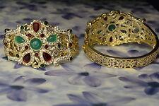 Dolly-Bijoux Bracelet Jonc Ouvrable Emeraude, Rubis et Pavé Diamant Cz 60-55 mm