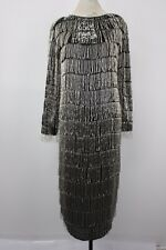 Vintage Neiman Marcus Sz. Small Women's Silk Flapper Style Sequin Fringe Dress