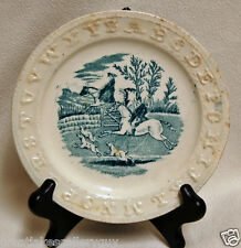 Rare Antique Staffordshire Childs ABC Alphabet Plate Two Horseman, dogs at gate