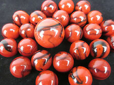 25 Glass Marbles LADYBUG Black Blood Red game pack vtg style Shooter Swirl
