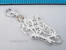 1x STERLING SILVER BUTTERFLY CHARM PENDANT EUROPEAN LOBSTER CLIP ON CHARM #1950
