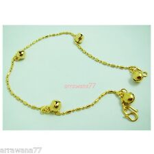 Bell 22K 23K 24K Thai Baht Gold GP Jewelry Charm Bell Anklet 9 inch A11