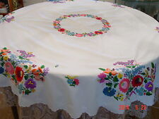 """HUNGARIAN HAND EMBROIDERED ROUND TABLECLOTH (60"""")  Kalocsa floral motive"""