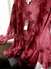 MONSOON RED PURE SILK BLOUSE /TOP/JACKET. SIZE 12. RRP £55