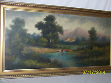 Antique Imlay,Nevada Original Oil On Canvas Landscape Painting Artist Signed