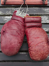 AUTH. ANTIQUE LACE UP BOXING GLOVES EVERLAST STAMPED EP16 325-16 VINTAGE LEATHER