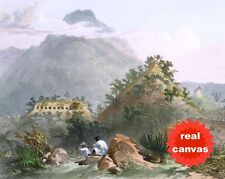 MAYAN CITY PALENQUE CHIAPAS MEXICO CATHERWOOD PAINTING ART REAL CANVAS PRINT