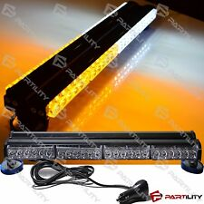 "25"" 144W LED White Amber Light Magnet Warning Strobe Flashing Bar Hazard Roof"