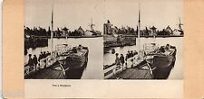 STC442 Hollande Buiksloot péniche moulin Hélio stereoview photo STEREO Vintage