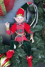 "Elf Raz Elf Christmas Ornament Doll Shelf Sitter Poseable 20"" Green Plaid B New"