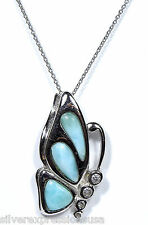 Genuine AAA Butterfly Dominican Larimar 925 Sterling Silver Chain Necklace 18""
