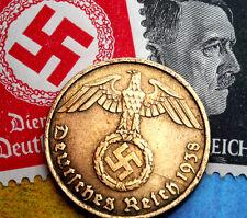 XXX-RARE 1938-D WW2 NAZI German 5 Reichspfennig Coin/Swastika & Hitler Stamp LOT