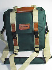 "Vintage Canon Camera Bag Green Canvas Tan Leather 11"" x  6"" w x  10"" t"