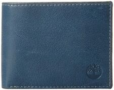 Timberland D884218 23 Men's Fine Break Leather Passcase Billfold Wallet Ink Blue
