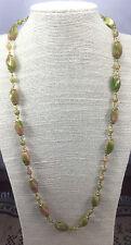 Vintage Necklace Glass Olive Mauve Twist Linked Filigree bead caps Germany