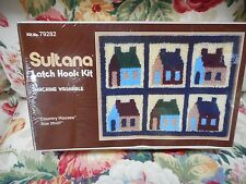 "Sultana COUNTRY HOUSES Latch Hook Kit 20x27"" Machine Washable NIB! Made in USA"