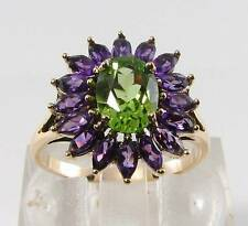 LOVELY 9K 9CT YELLOW GOLD PERIDOT & AMETHYST CLUSTER RING FREE RESIZE