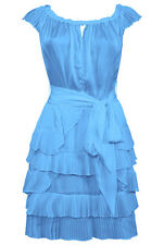 New-Blue Satin Off Shoulder Mini Party Prom Dress-Chiffon Fan Pleated Tiers-10