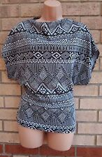 CLUB L GREY BLACK TRIBAL ETHNIC BAGGY OVERSIZE BLOUSE  TOP T SHIRT TUNIC VEST 12
