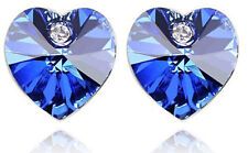 Elegant Royal Blue Sapphire Hearts Crystal Studs Earrings E261