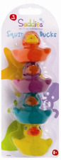 4 Rubber Coloured Ducks Fun Kids Bath Squeaky Toy New Baby Duck Time UK Seller