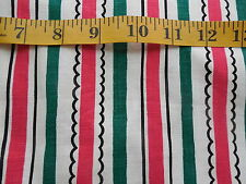 """Vintage Indian Head Cotton Fabric 35"""" Wide Red & Green Stripes 1+ yards"""
