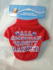 Dog Shirt Pet Supplies Clothing Costumes Red Small All American Varsity Barker