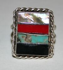 Vintage Mother-of-Pearl Coral Turquoise Onyx Sterling Silver Ring ~ Sz 7.5