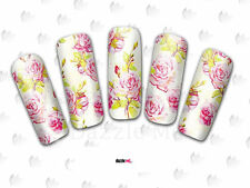 Nail Art Sticker Water Decals Transfer Flowers Floral Pink Roses (DC162)