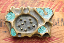 Vintage Unique Solid Brass or Bronze Hand Made Turquoise Chip Inlay Belt Buckle