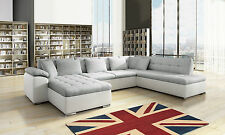 New Scafati Right Hand Corner Sofa Bed White Leather Grey Fabric Bargain