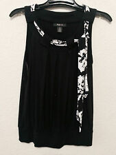 Style & Co Womens Top Size M Black & White Stretch Sleeveless Blouse