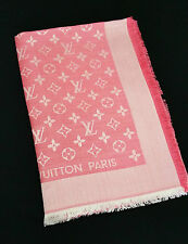 RARE NEW Genuine LOUIS VUITTON Monogram LV Denim Coral Pink Slk Wool Shawl Scarf
