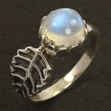 NEW 925 Sterling Silver Unique Ring Size UK N Natural RAINBOW MOONSTONE Gemstone