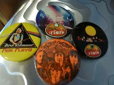 """PINK FLOYD"" COLLECTION 4 X Vintage Late70s Badges Pins Buttons ROCK  2 ½ """