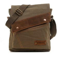 Mens Retro Canvas Satchel School Military Messenger Crossbody Bag Army Green