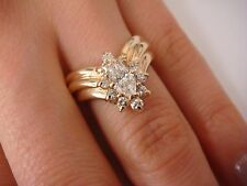 """!EXQUISITE 14K GOLD 1 CARAT MARQUISE WITH """"HALO"""" DIAMONDS V-SHAPED RING, SIZE 6"""
