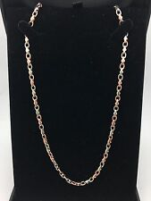 "Men's 14K Solid Two Tone White and Rose Gold Link 20"" Chain Necklace 25.2g 4.2mm"