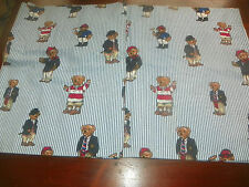 "Ralph Lauren Teddy Bear Stripe Valance for a WIDE Window! Custom Made 104"" wide"