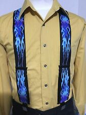 """New, Men's Blue Flame, XL, 2"""", Adj. Suspenders / Braces, Made in the USA"""