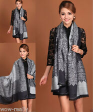Fashion Pashmina Cashmere Black Gray Flower Scarves Stole Shawl wrap Scarf New