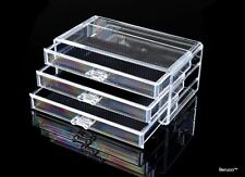 Clear Acrylic Jewelry Makeup Cosmetic Organizer Storage  - 3 Drawer 9x5x4 inches