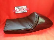 LARGE CAFE RACER SEAT WITH UPHOLSTERED PAD BLACK BMW TRIUMPH MOTO GUZZI ETC