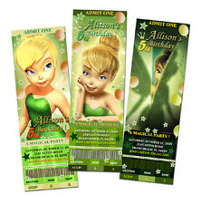 9 designs ! TINKERBELL FAIRIES BIRTHDAY PARTY INVITATION TICKET FIRST baby r5
