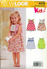 NEW LOOK SEWING PATTERN 6276 TODDLERS/GIRLS SZ ½-4 EASY, DRAWSTRING DRESSES
