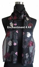 New Lace Scarf Wrap w/ Colorful Embroidery & Sequins, Black 3