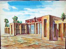 Acquerello '900 su carta Watercolor Architettura futurista cubista razionale-27